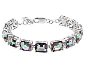 Mystic Quartz Rhodium Over Silver Bracelet  35.25ctw
