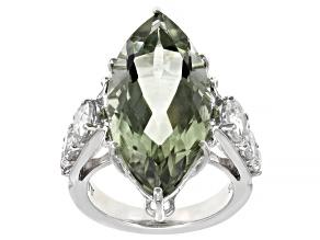 Prasiolite Rhodium Over Sterling Silver Ring 11.50ctw