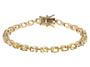 Picture of Yellow Citrine 18k Yellow Gold Over Sterling Silver Tennis Bracelet 10.96ctw