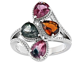 Multi Color Tourmaline Rhodium Over Sterling Silver 4-Stone Ring 3.50ctw