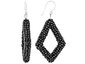 Black Spinel Sterling Silver Dangle Earrings