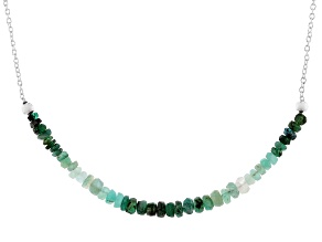 Green Emerald Sterling Silver Bar Necklace 4.00ctw