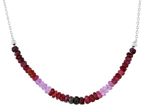 Red Ruby Sterling Silver Bar Necklace 6.00ctw