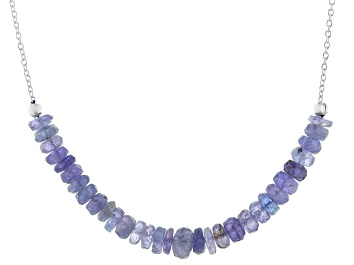 Picture of Blue Tanzanite Sterling Silver Bar Necklace
