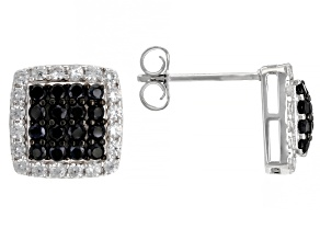 Black Spinel Rhodium Over Silver Earrings 1.49ctw