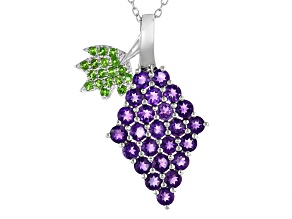 Purple Amethyst Rhodium Over Silver Grape Pendant With Chain 2.20ctw
