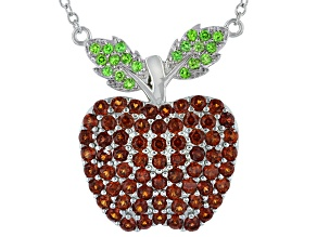 Red Garnet Rhodium Over Silver Apple Necklace 2.75ctw