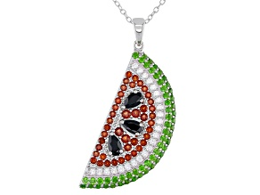 "Garnet Rhodium Over Silver Watermelon Pendant with 18"" Chain 2.35ctw"