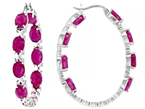 Burma Ruby Rhodium Over Sterling Silver Hoop Earrings 10ctw