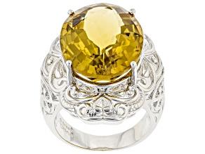 Yellow Citrine Rhodium Over Brass Ring 15.00ctw