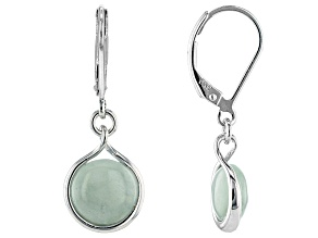 Green Jadeite Rhodium Over Sterling Silver Earrings