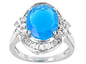 Pariaba Blue Color Opal Rhodium Over Sterling Silver Ring 1.75ctw
