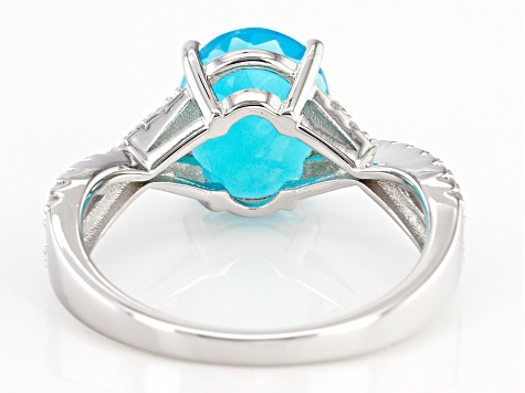 Paraiba Blue Color Opal Rhodium Over Silver Ring .40ctw