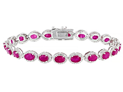 Burma Ruby Rhodium Over Sterling Silver Tennis Bracelet 12.75ctw