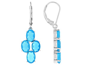 Paraiba Blue Color Opal Rhodium Over Sterling Silver Dangle Earrings