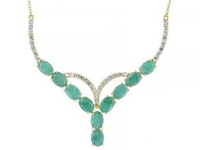 Green Emerald 18k Yellow Gold Over Sterling Silver 5.00ctw