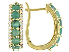 Green Emerald 18k Yellow Gold Over Silver J-Hoop Earrings 2.90ctw