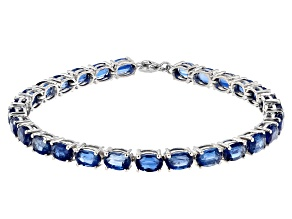 Blue Kyanite Rhodium Over Sterling Silver Bracelet. 14.07ctw