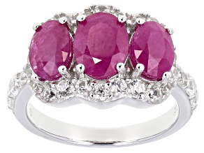 Burma Ruby Rhodium Over Sterling Silver Ring 3.50ctw