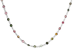 Multi Tourmaline Rhodium Over Sterling Silver Necklace. 8.40ctw