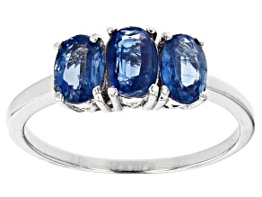 Blue Kyanite Rhodium Over Sterling Silver Ring. 1.60ctw