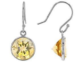 Yellow Citrine Rhodium Over Sterling Silver Dangle Earrings 4.70ctw