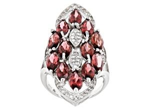 Red Garnet Rhodium Over Sterling Silver Ring 7.40ctw