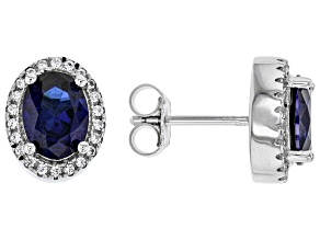 Lab Blue Sapphire Rhodium Over Sterling Silver Earrings 3.10ctw