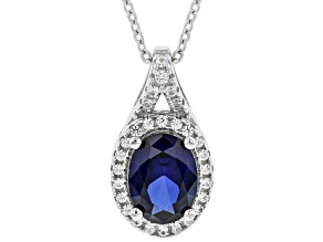 Lab Blue Sapphire Rhodium Over Silver Pendant With Chain 1.65ctw