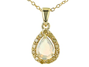 Ethiopian Opal 18K Yellow Gold Over Sterling Silver Pendant With Chain. 0.45ctw.
