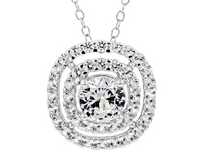 White Sapphire Rhodium Over Sterling Silver Pendant With Chain. 0.90ctw