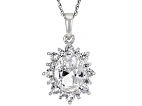White Lab Created Sapphire Rhodium Over Sterling Silver Pendant With Chain. 2.56ctw