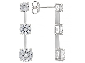 White Lab Created Sapphire Rhodium Over Sterling Silver Earrings. 3.76ctw