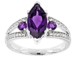 Purple Amethyst Rhodium Over Sterling Silver Ring 2.20ctw