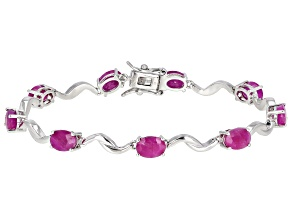 Ruby Rhodium Over Sterling Silver Bracelet 5ctw