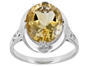Citrine Solitaire Rhodium Over Sterling Silver Ring 3.70ct