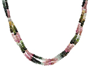 Multi Color Tourmaline Rhodium Over Sterling Silver Beaded Necklace