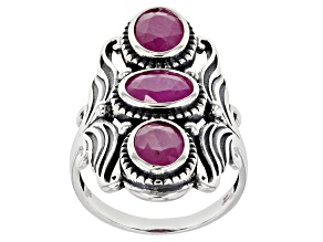 Burma Ruby Sterling Silver 3-Stone Ring 2.25ctw