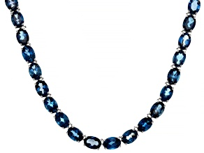 London Blue Topaz Rhodium Over Sterling Silver Necklace