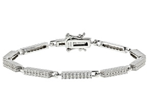 White Zircon Rhodium Over Sterling Silver Tennis Bracelet 3.00ctw