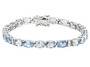 Aquamarine Rhodium Over 14k White Gold Tennis Bracelet 10.46ctw
