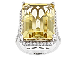 Citrine Rhodium Over Sterling Silver Ring 20.10ctw