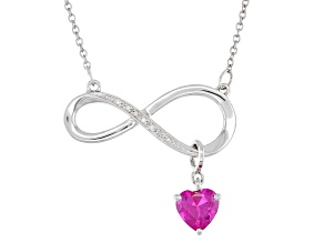 Lab Created Pink Sapphire Rhodium Over Silver Necklace 0.91ctw