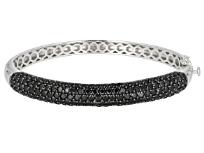 Black Spinel Rhodium Over Sterling Silver Bangle Bracelet 10.00ctw