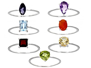 Multi Stone & Shape Rhodium Over Sterling Silver Set Of 7 Rings 5.49ctw