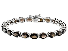 Smoky Quartz Rhodium Over Sterling Silver Tennis Bracelet 14.85ctw