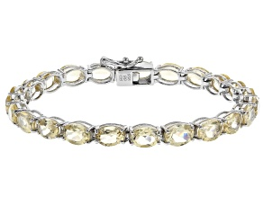 Citrine Rhodium Over Sterling Silver Tennis Bracelet 16.3ctw