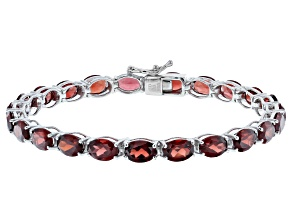 Garnet Rhodium Over Sterling Silver Tennis Bracelet