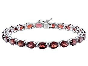 Garnet Rhodium Over Sterling Silver Tennis Bracelet
