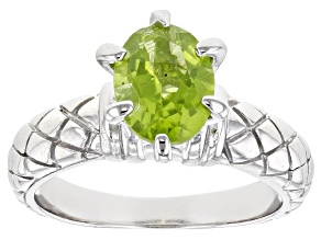 Peridot Rhodium Over Silver Ring 1.80ctw
